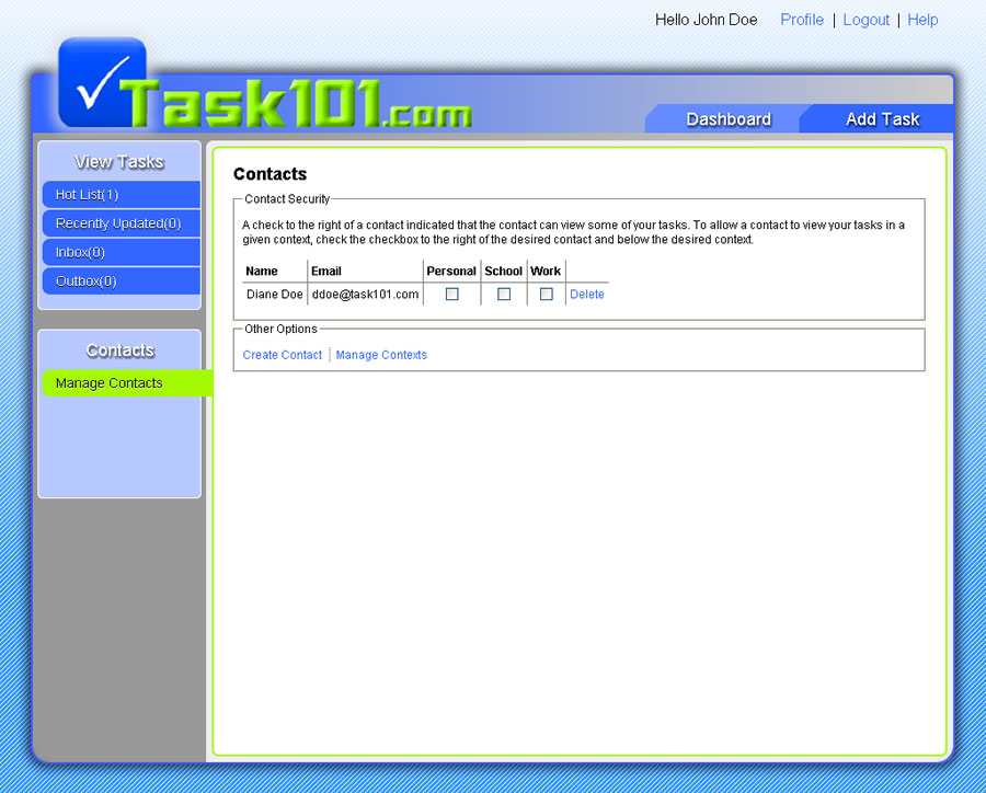 Task101 Contacts page with new ddoe contact from jdoe perspective