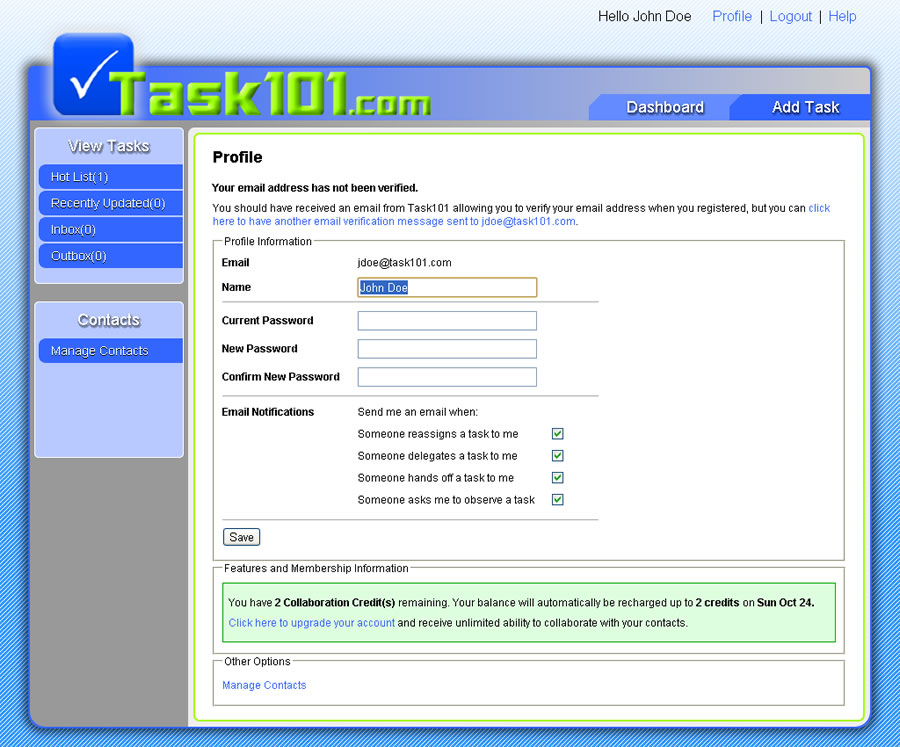 Task101 Profile page from jdoe perspective